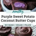 dark chocolate Purple Potato Coconut Butter Cups collage