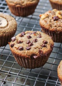 paleo banana muffins with chocolate chips on cooling rack