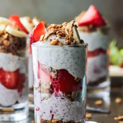 Strawberry Banana Chia Seed Pudding Parfait