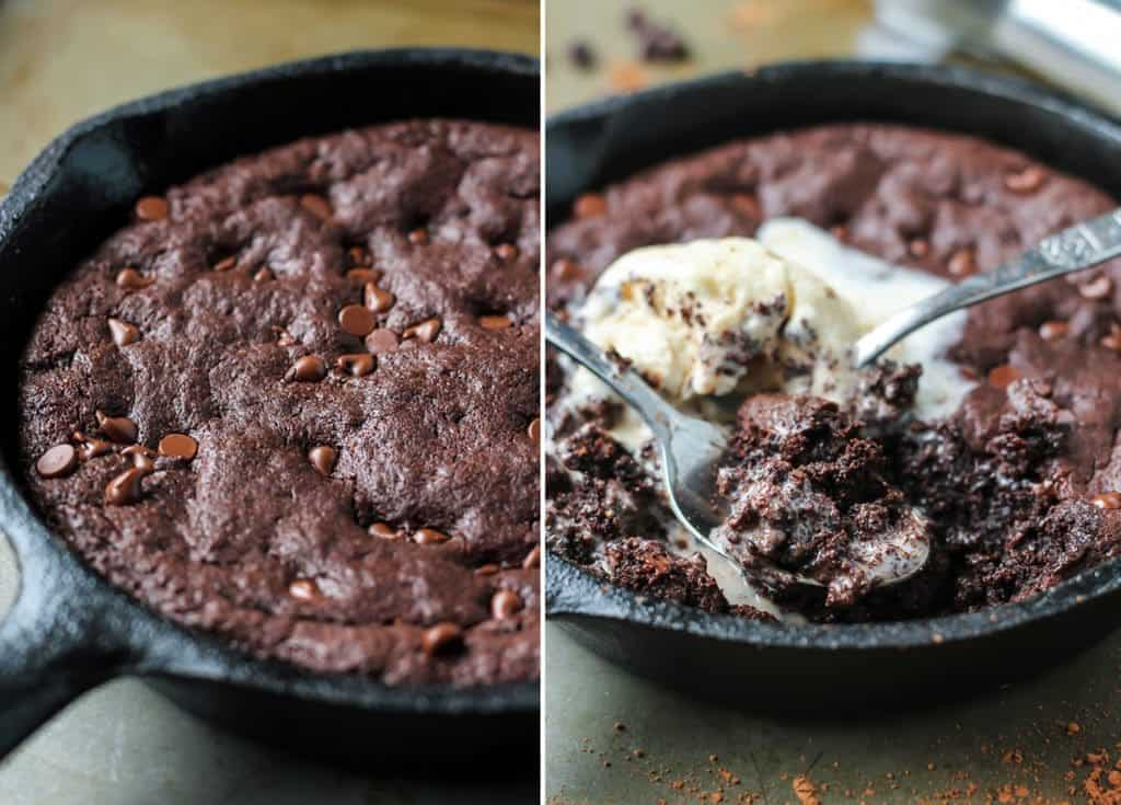 Paleo Skillet Brownie with ice cream and two spoons