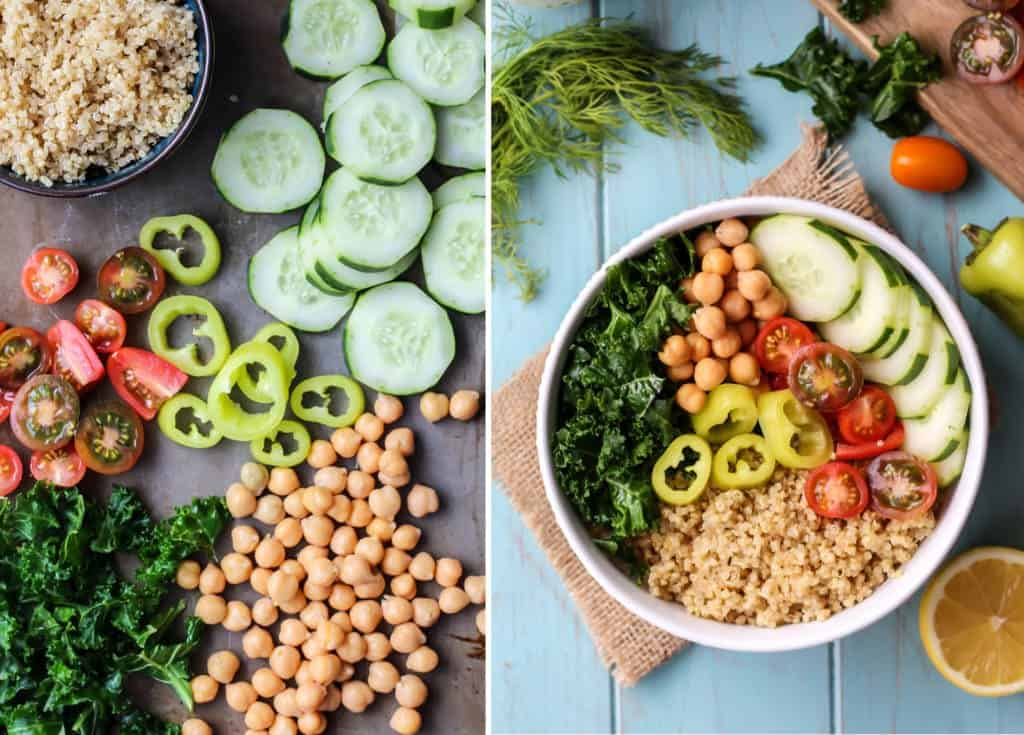 Greek Power Bowl ingredients cucumbers chickpeas tomatoes peppers dill quinoa lemon in white bowl