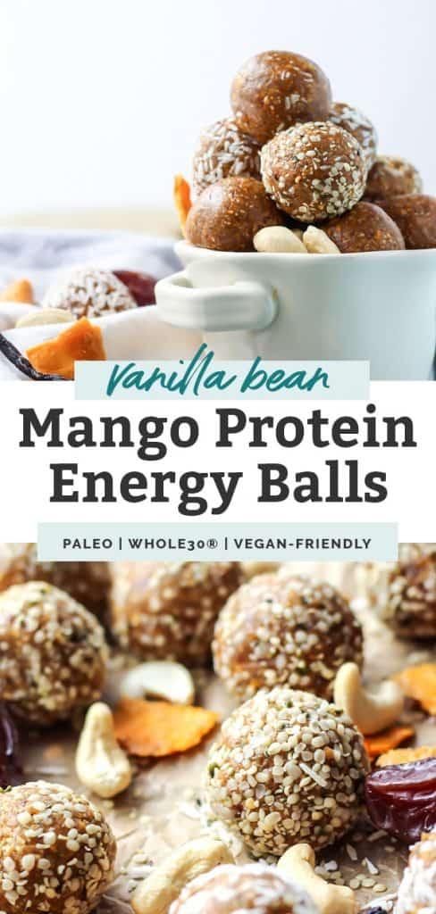 photo collage of mango vanilla bean protein energy balls in white mug