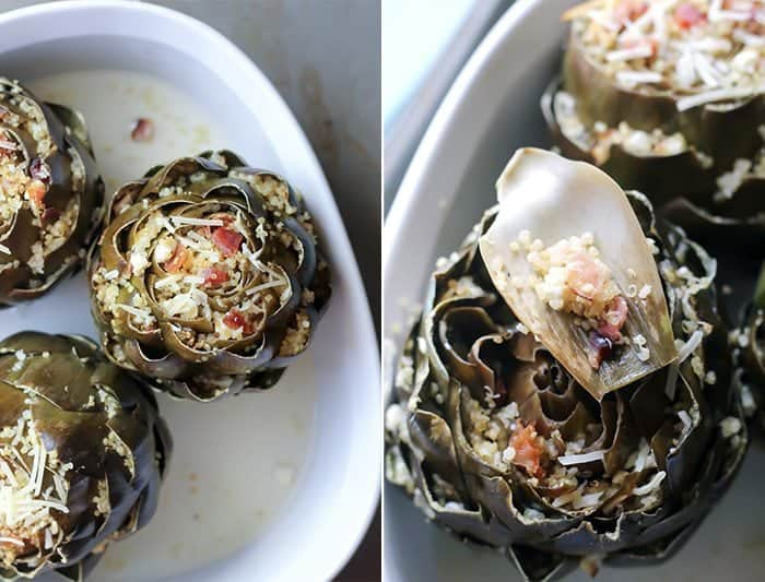 Bacon Feta Quinoa Stuffed Artichokes in white casserole dish