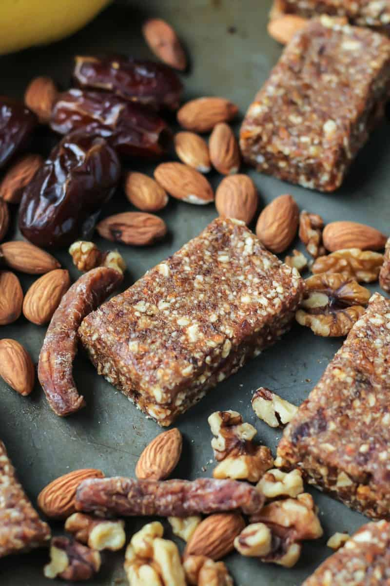 banana bread date bars with almonds, pecans, dried bananas and medjool dates
