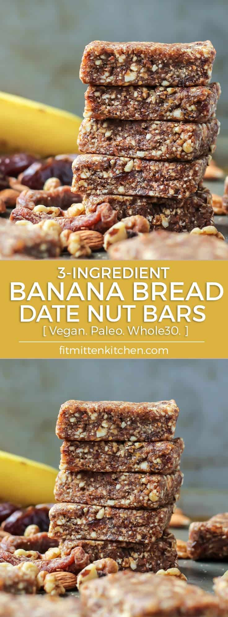 3-Ingredient Banana Bread Date Nut Energy Bars vegan paleo whole30