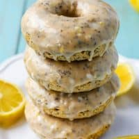 Lemon Poppy Seed Glazed Donuts! Baked, whole grain flour and dairy-free!
