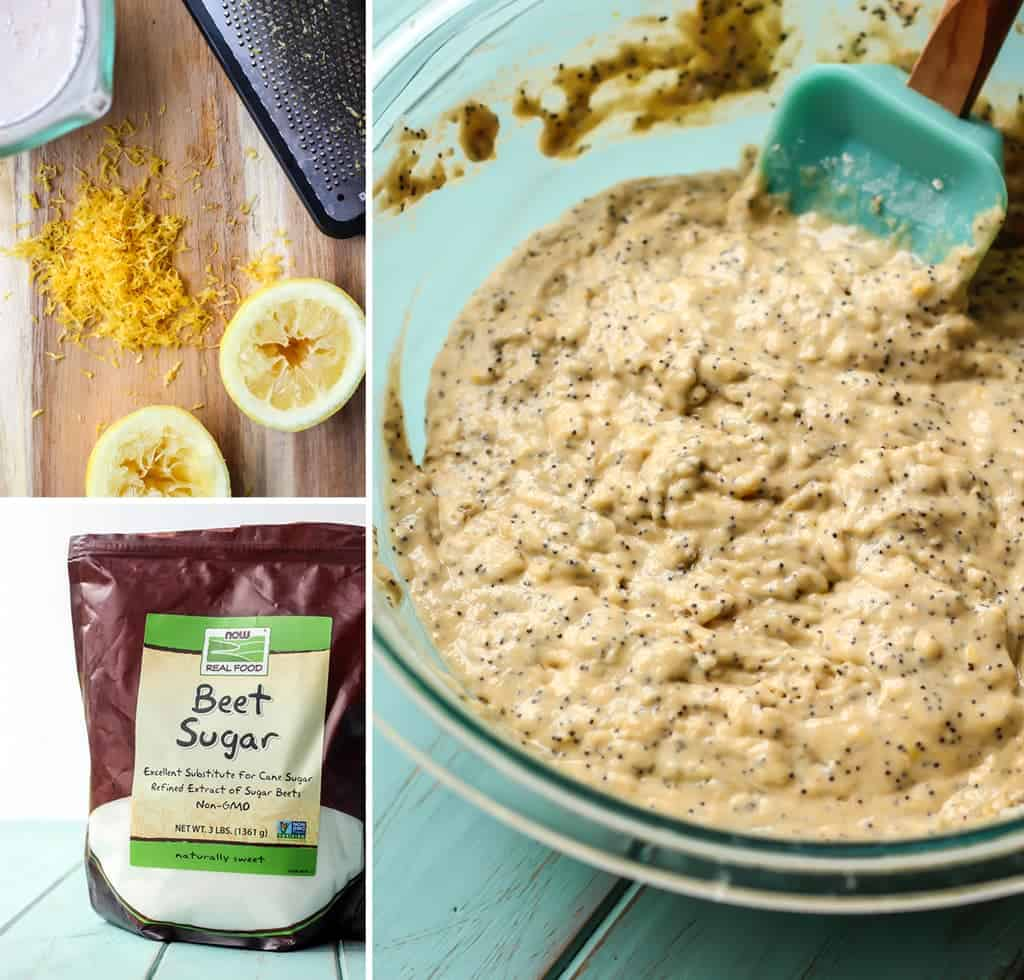 step by step ingredients for lemon poppy seed muffins with beet sugar and lemon zest