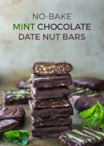 No-Bake Mint Chocolate Date Nut Bars, with a matcha coconut butter filling!