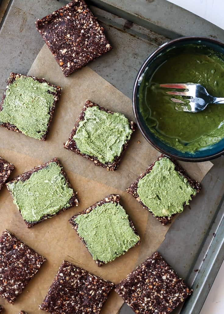 No-Bake Mint Chocolate Date Nut Bars with a matcha coconut butter filling
