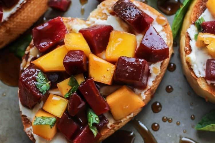 Mint Mango Beet Bruschetta with Honey Balsamic Glaze
