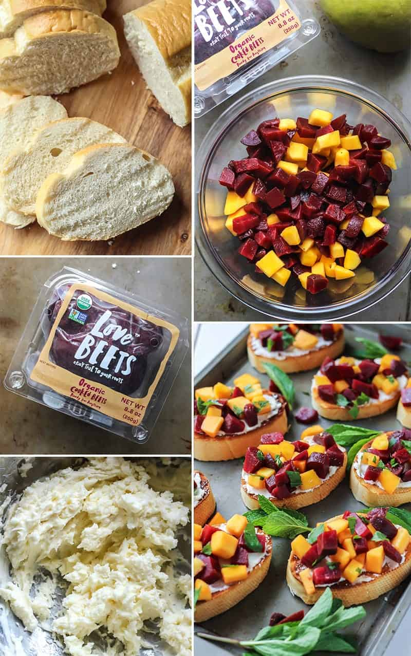 Bruschetta makes the best party appetizer! This Mint Mango Beet Bruschetta with honey balsamic glaze will be sure to impress.