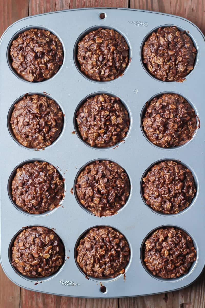 Chocolate Peanut Butter Baked Oatmeal Cups