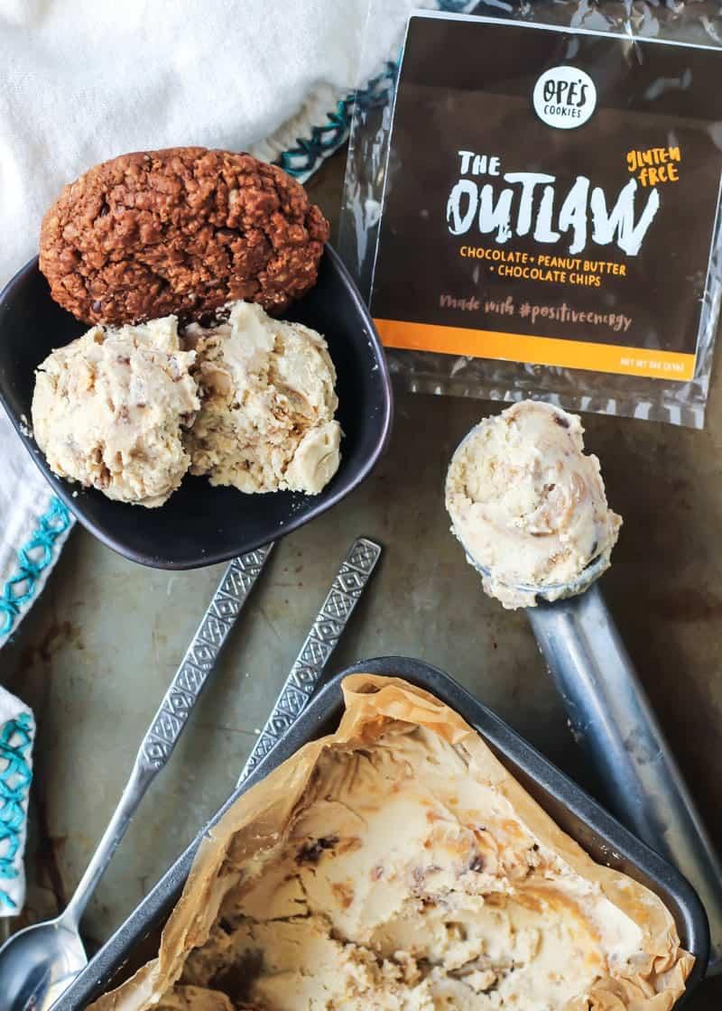 Vegan Peanut Butter Swirl Ice Cream with Chocolate Cookie Crumbles!!
