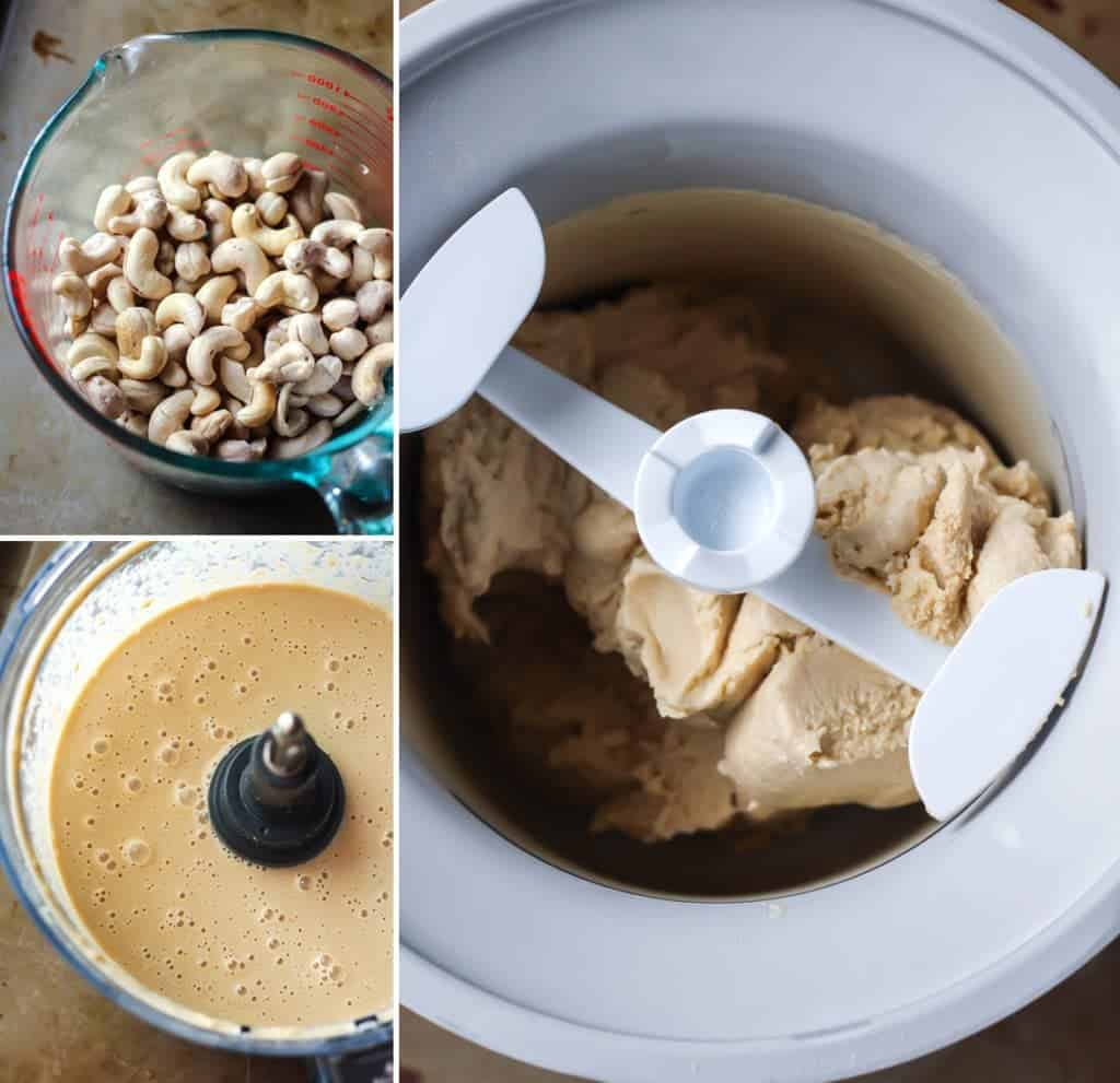 ingredients for vegan peanut butter ice cream in food processor and ice cream maker