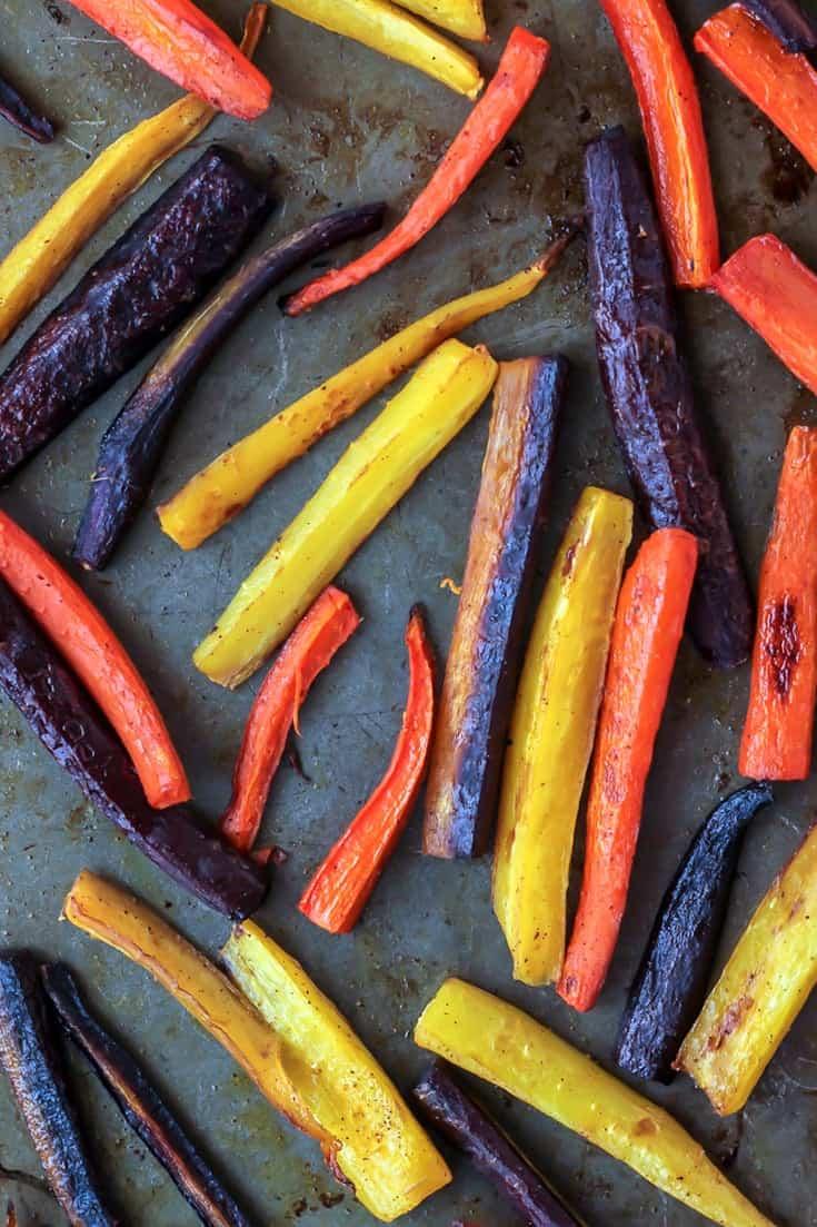 Roasted Rainbow Carrots. Vegan, Paleo, Whole30