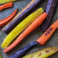 Roasted Rainbow Carrots and tahini ginger sauce