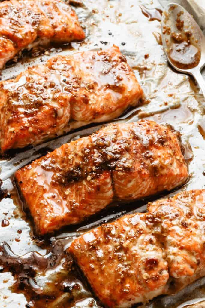 glazed salmon on pan