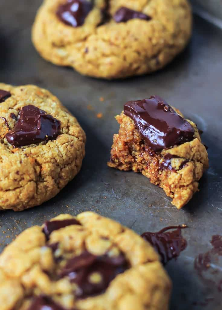 warm Chocolate Chunk Turmeric Cashew Butter Cookie with bite