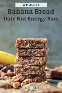 stack of banana bread energy bars with dried fruit and nuts