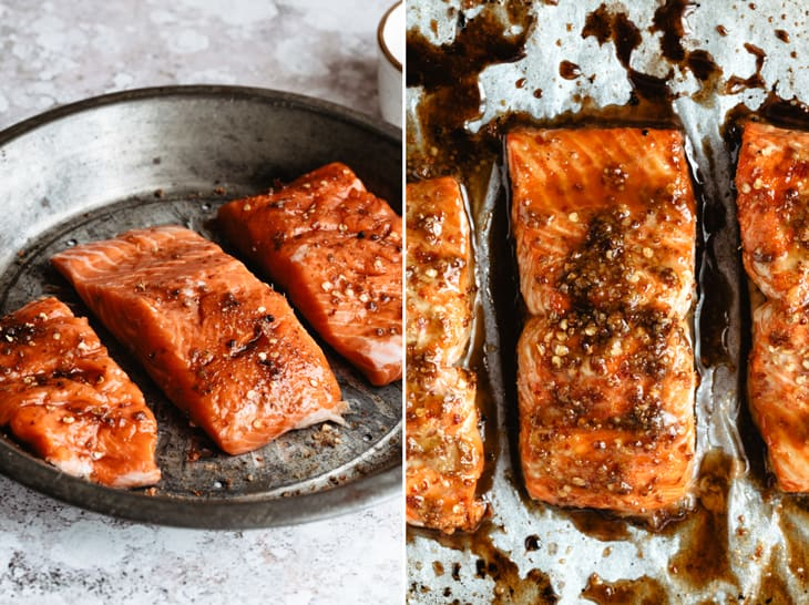wild caught salmon in pan and on baking sheet with glaze