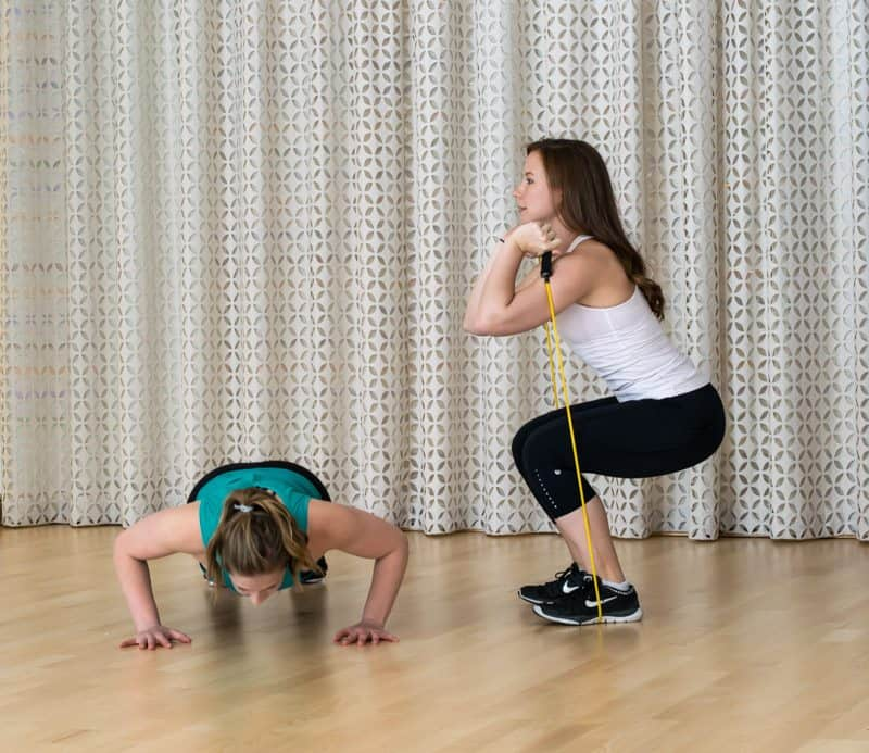 20 Minute Buddy Band Workout - Push-Ups and Banded Squats