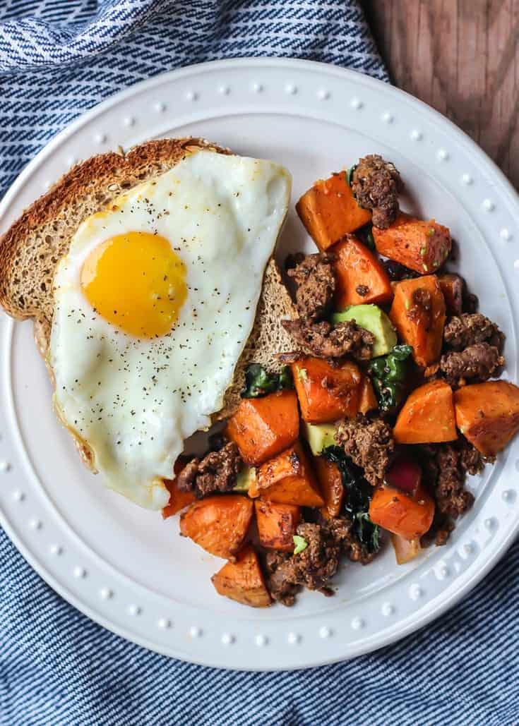 Simple Chorizo Breakfast Hash Skillet. Paleo, Whole30 compliant.
