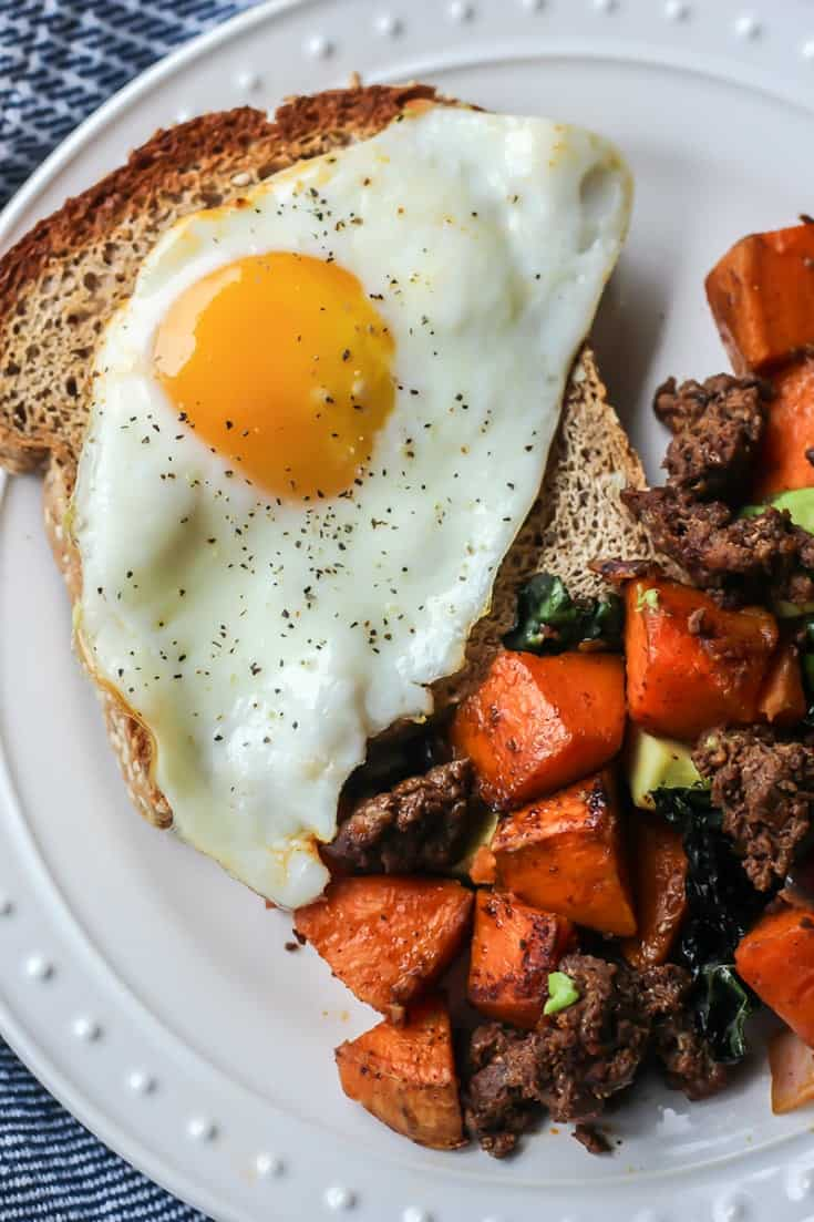 Chorizo Breakfast Hash with sweet potato and fried egg on toast