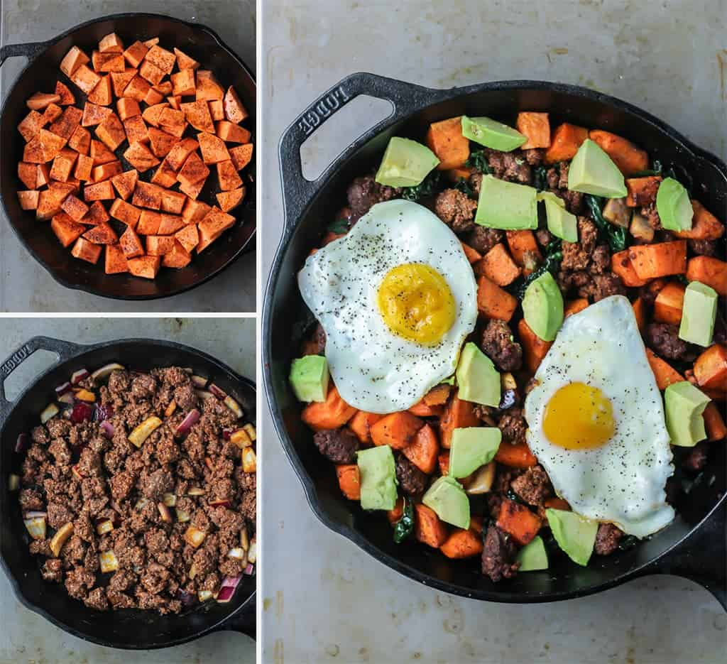 step by step skillet Chorizo Breakfast Hash with sweet ptato, avocado, eggs