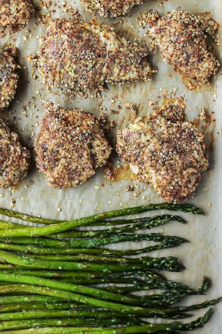 Hemp Crusted Chicken & Asparagus Sheet Pan Dinner. Paleo, Whole30 compliant