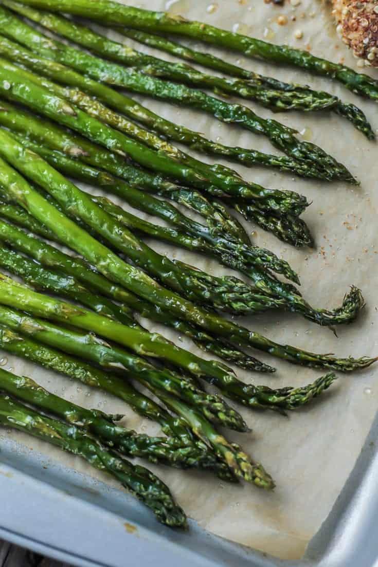 Easy, paleo crusted hemp chicken & asparagus sheet pan dinner