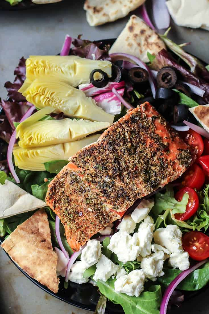 This Greek Salmon Salad is loaded with so many goods! Perfect for weeknight dinners even,