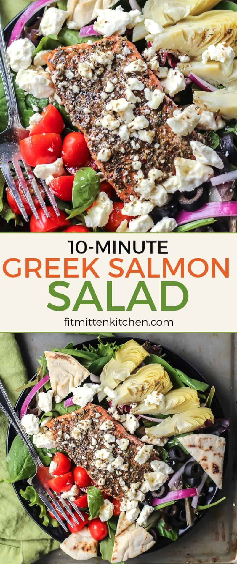 This Greek Salmon Salad is truly amazing! You can prep the veggies while the salmon cooks and you'll have this delicious meal ready in 10 minutes!