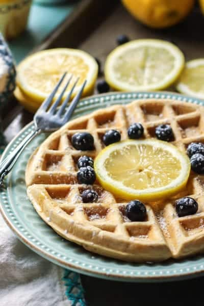 Lemon Greek Yogurt Waffles