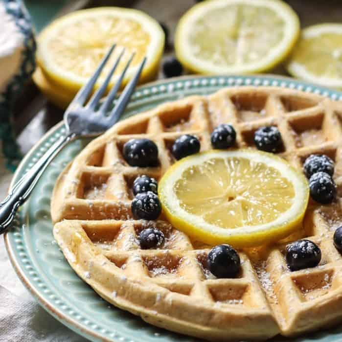 Easy Lemon Greek Yogurt Waffles. Gluten-free friendly, just use 1:1 flour!