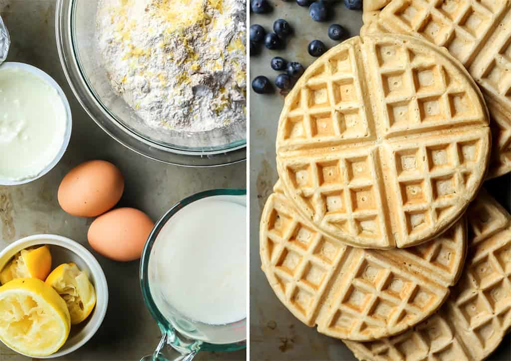 ingredients for lemon blueberry waffles in clear bowls on baking sheet