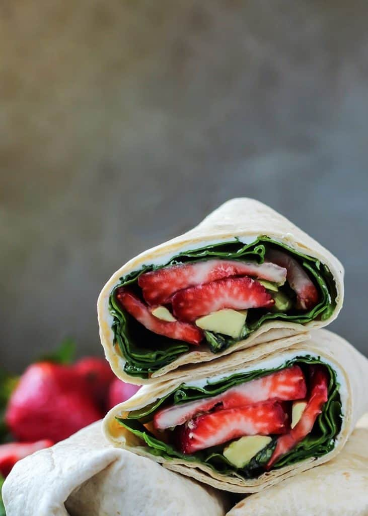 Strawberry Avocado wrap stacked on opt of each others