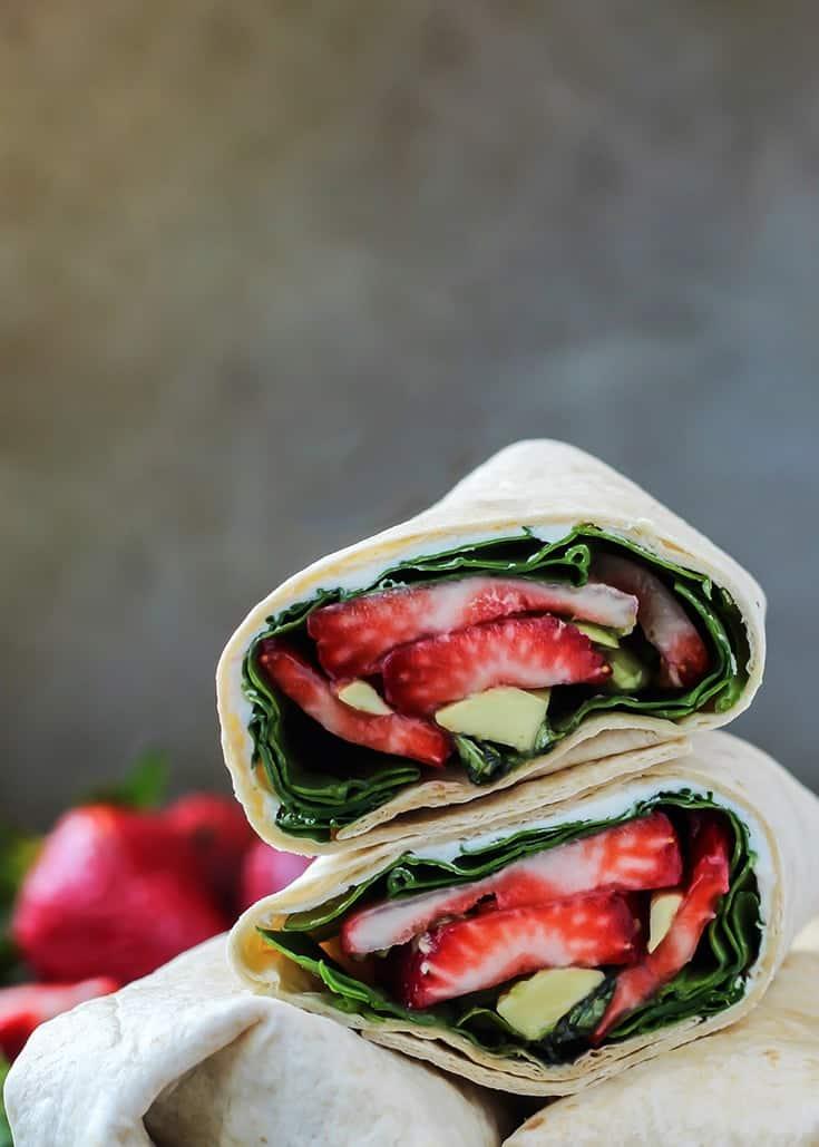 Strawberry Basil Avocado Wraps cut in half in stack