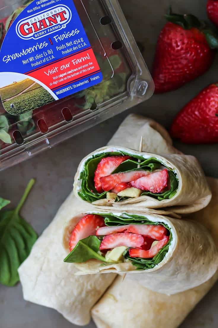 Strawberry Basil Avocado Wrap cut in half with California giant strawberries
