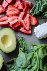 Simple, delicious ingredients for this Strawberry Basil Avocado Wrap