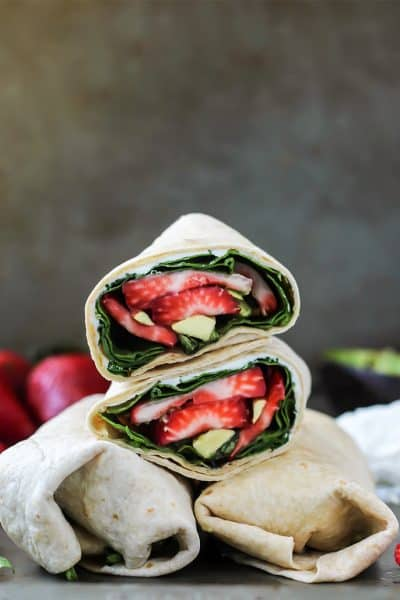 Strawberry Basil Avocado Wrap with goat cheese and balsamic