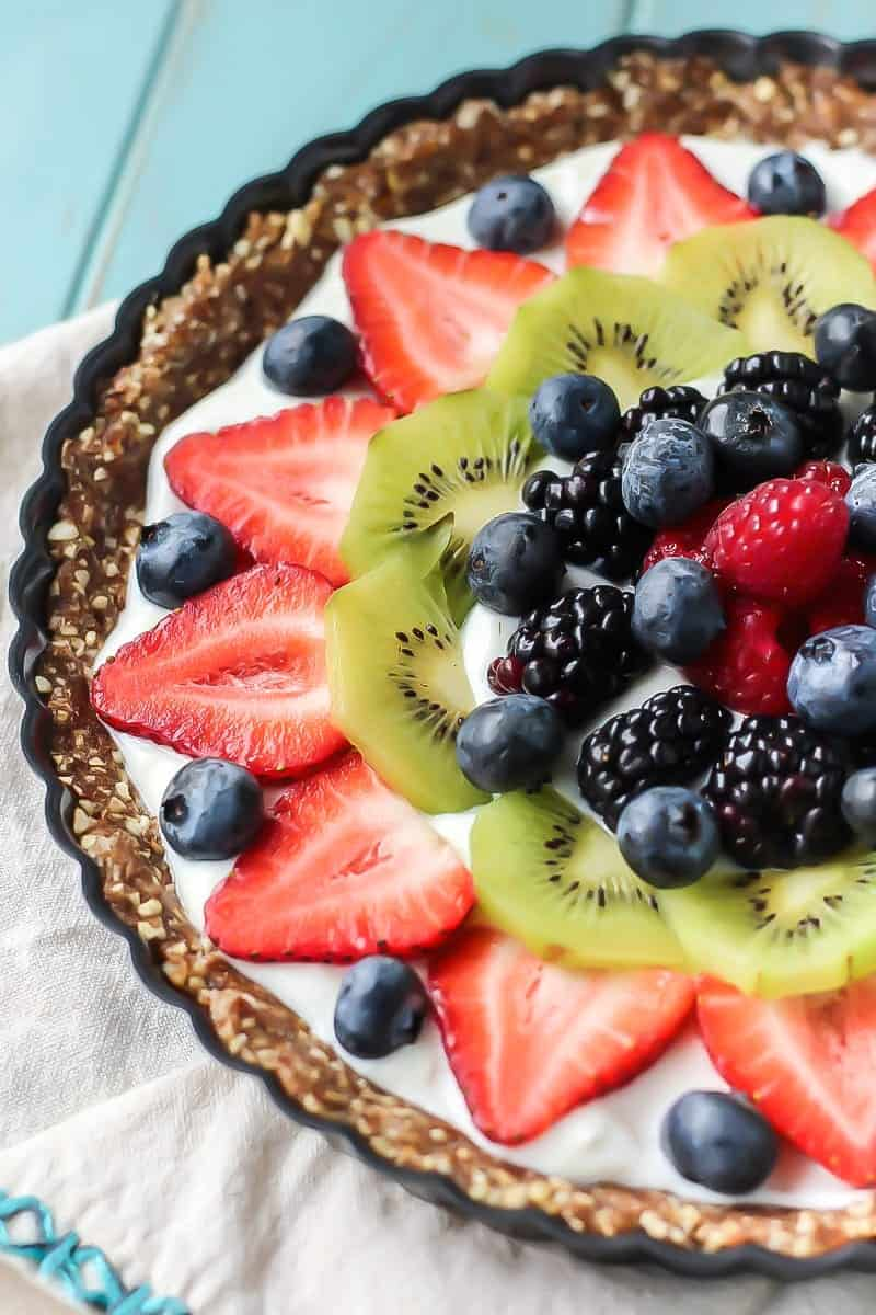 Greek Yogurt Fruit Tart with blueberries, strawberries, kiwi, blackberry and raspberry