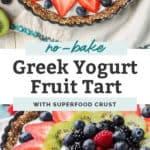 greek yogurt fruit tart surrounded by raspberries, blueberries, strawberries, kiwi and more