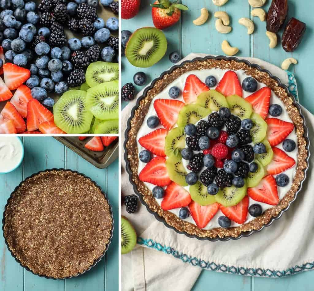 Simple ingredients, no-bake and healthy! This Greek Yogurt Fruit Tart is a must this summer.