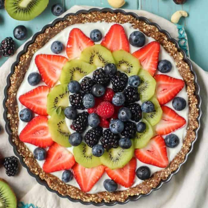 Easy healthy dessert! Greek Yogurt Fruit Tart with a superfood crust! Grain-free.