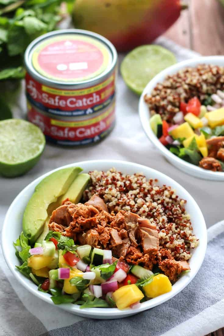 Habanero Mint Tuna Power Bowl with lime in white bowl with safe catch tuna
