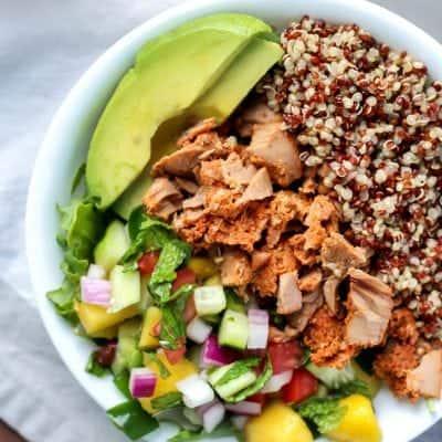 Habanero Mint Tuna Power Bowl with Mango Mint Salsa