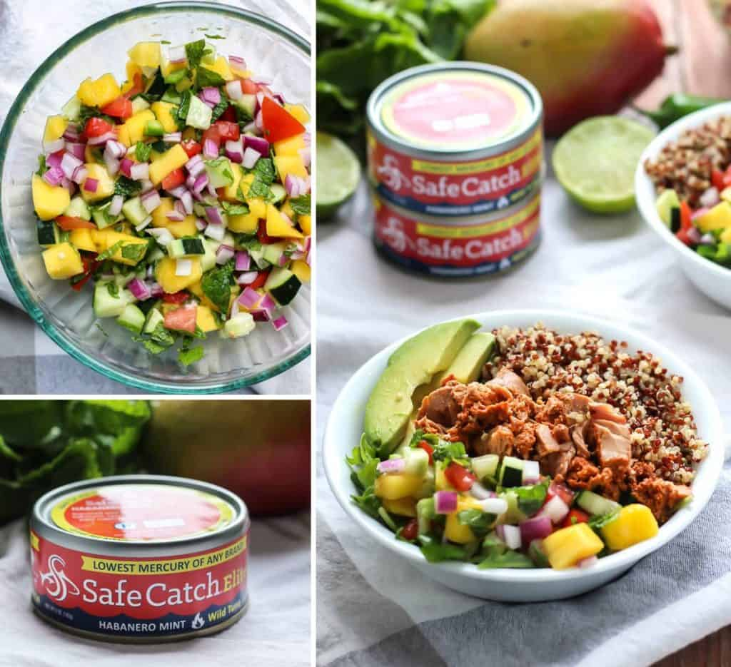 A gluten-free, dairy-free and paleo-friendly tuna power bowl! Habanero Mint Tuna Power Bowl with mango salsa!