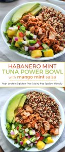 TUNA POWER BOWL! A gluten-free, dairy-free and paleo-friendly tuna power bowl complete with a mango mint salsa. The combination of flavors happening here is incredible.
