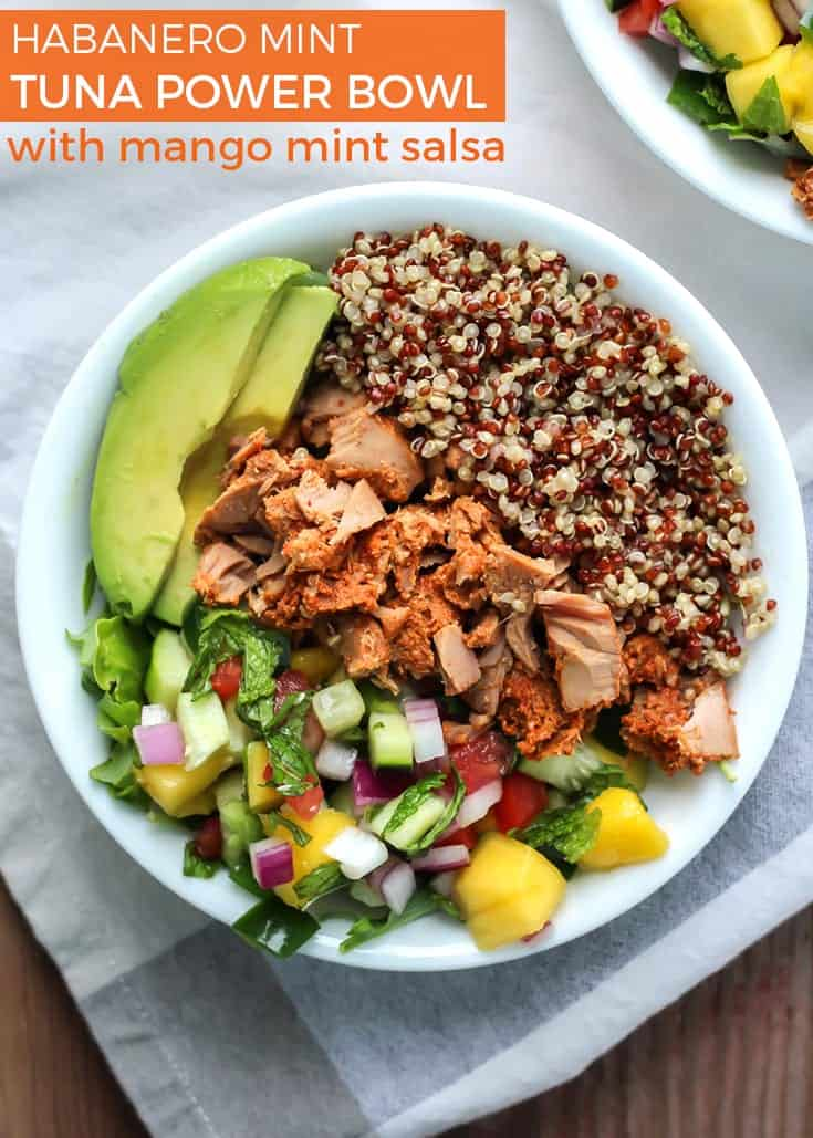 Your new favorite way to enjoy lunch will be via this Habanero Mint Tuna Power Bowl, complete with a mango mint salsa that is a must! Gluten-free, dairy-free and paleo-friendly.