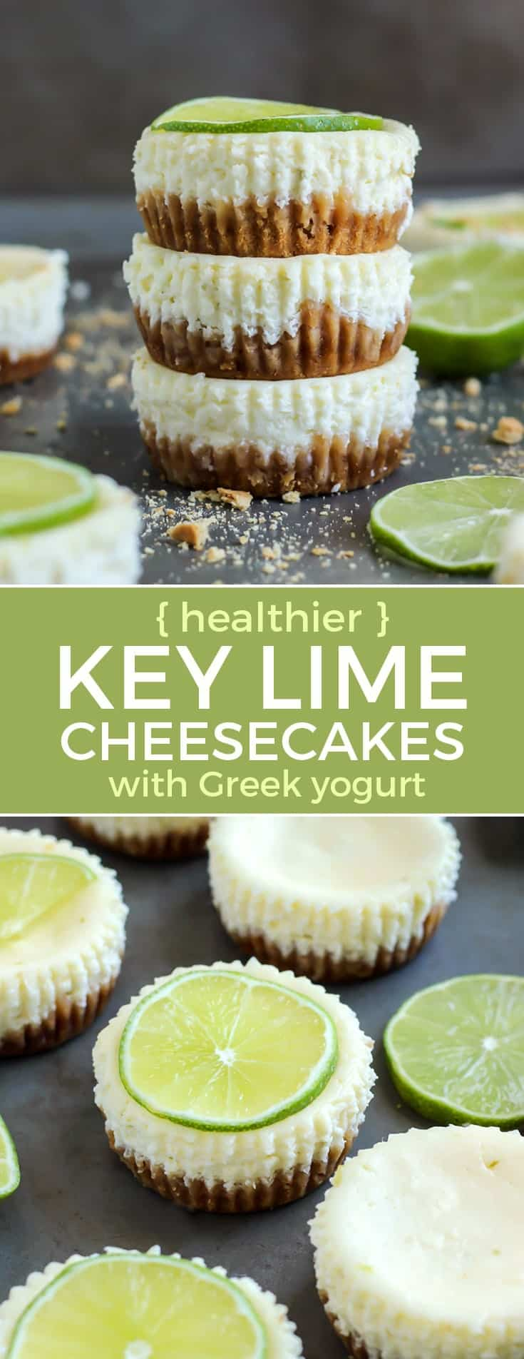healthier key lime cheesecakes with greek yogurt with lime slices pinterest image
